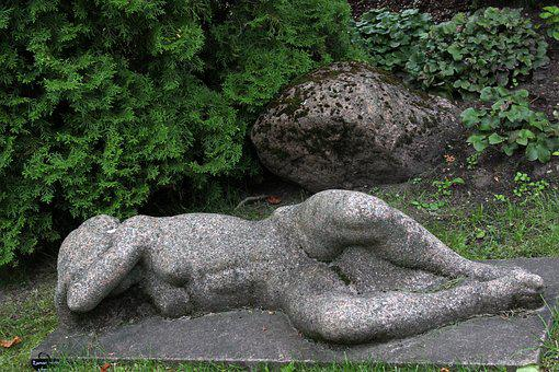 Statue, Nature, Garden, Gray, Stone, Naked Woman