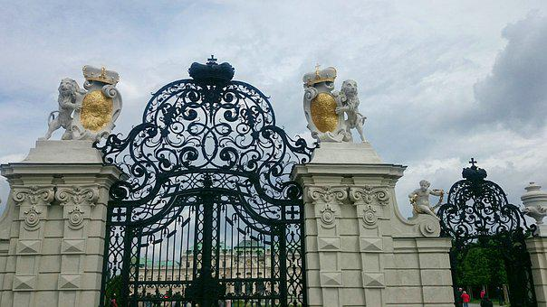 Gateway, Palace, Gilding, Vienna, Caesar, Monument
