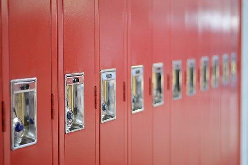 Lockers, School, High School, Red Lockers