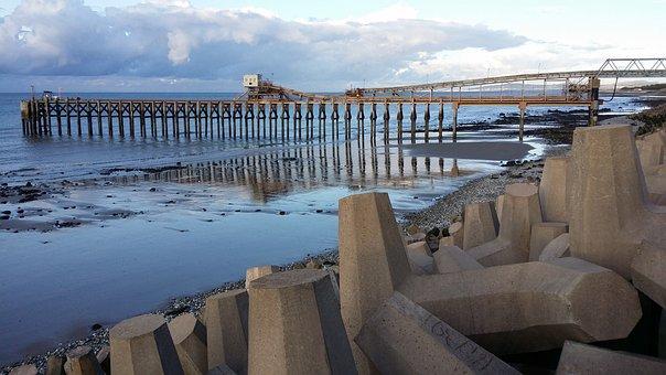 Llanddulas, Beach, Sea, Reflection, Raynes Jetty