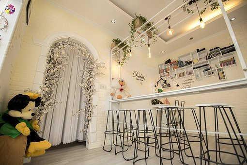 Beautiful Cafe, Bookshelf, Chair, Table