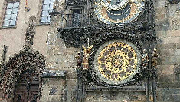 Clock, Gilding, Monument, Prague, Time Indicating