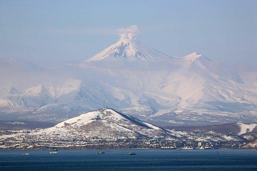 Volcano, Bay, Kamchatka, Winter, Landscape, Snow