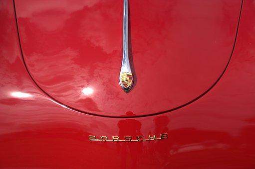 Red, Classic, Porsche, Bonnet, Badge, Car, Emblem, Auto