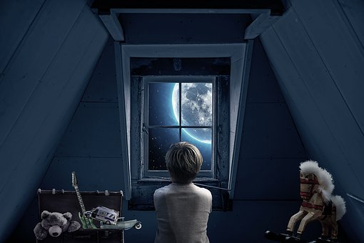Roof Windows, Attic, Boy, Stare Out The Window