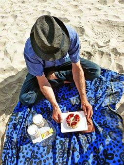 Picnic, Beach, Man, Human, Coffee, Pastries, Cream Puff