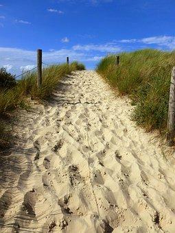 Away, Uphill, Sky, Sand, Dunes, Nature, Blue, Summer