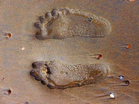 Footprint, Feet, Sand, Sand Beach, Ten, Barefoot, Wet