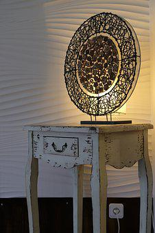 Cabinet, Table, Lamp, Light, Lighting, Art, Design