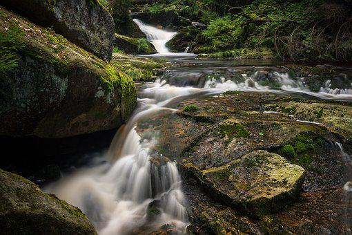 Waterfall, Long Exposure, Bach, Forest, Nature