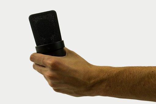 Microphone, Hand, Audio, Music, Recording