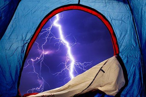 Tent, Camping, Camp, Tent Camp, Flash, Storm, Nature