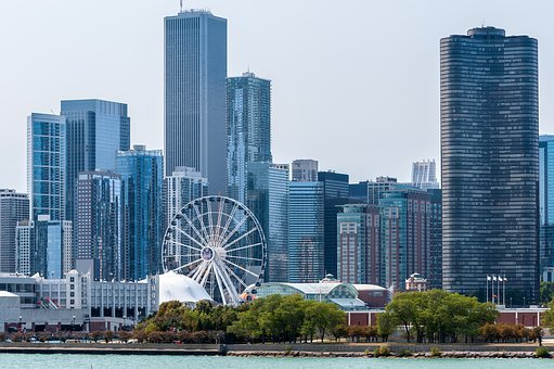 Navy Pier, Chicago Skyline, River View, Tall Buildings