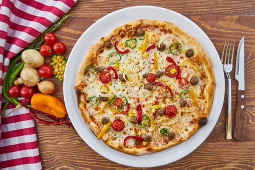 Pizza, Dough, Baked, Cheese, Tomato, Mushroom, Pepper