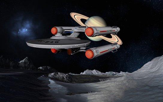 Spaceship, Uss Pioneer, Star Trek, Space, Planet