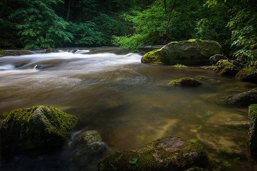 Waterfall, Rapids, Long Exposure, Nature, Landscape