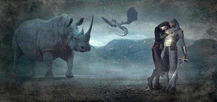 Fantasy, Rhino, Dragons, Mood, Landscape, Composing