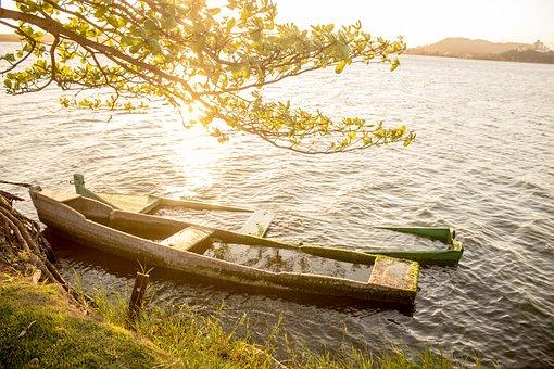 Sun, Boat, Orange, Sunset, Lake, River, Fish, Fisherman