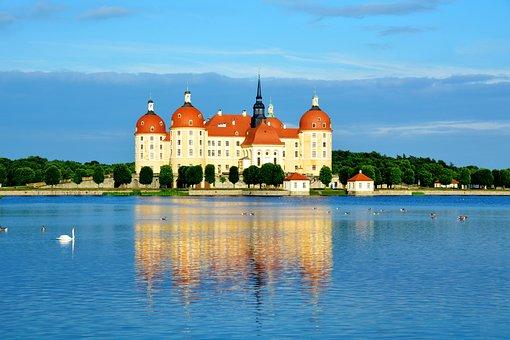 Castle, Moritz Castle, Old, Water, Lake, Pond, Swan