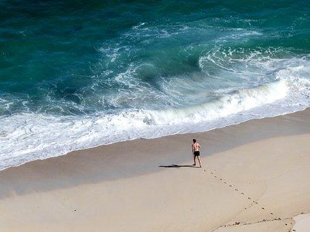 Sea, Floods, Beach, Wave, Footprints, Roar, Foam