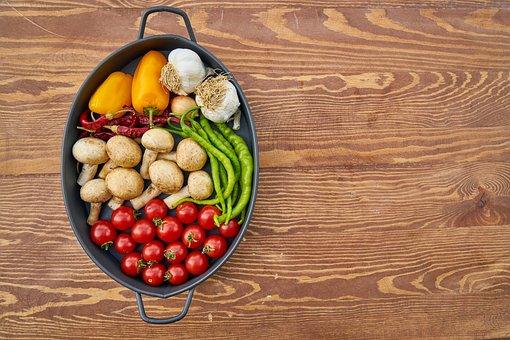 Tomato, Mushroom, Pepper, Red, Green, White, Vegetable