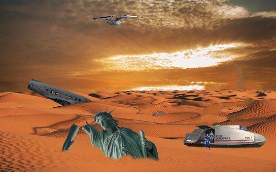 Zeitsprung, Spaceship, Desert, Adventure, Ruins