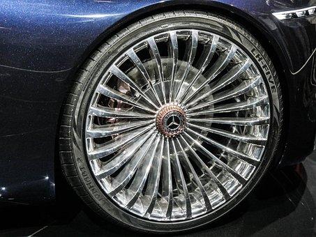Wheel, Rim, Metal, Alu, Shiny, Auto, Mercedes