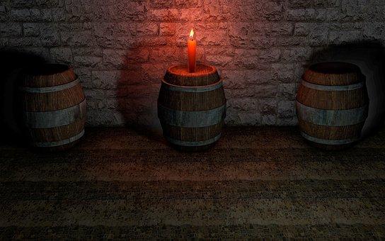 Keller, Barrel, Candle, Barrels, Cellar, Wine Barrels
