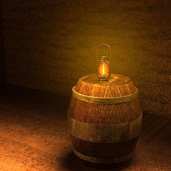 Keller, Barrel, Lantern, Barrels, Cellar, Wine Barrels
