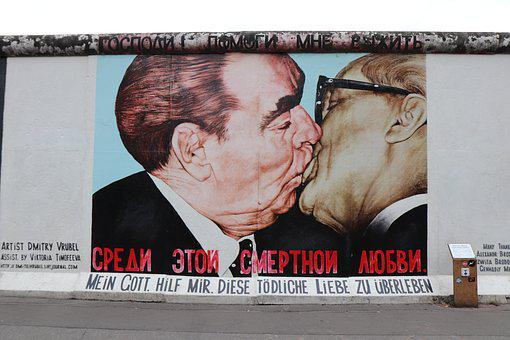 Kiss, Men, East, Side, Gallery, Berlin, Berlin Wall