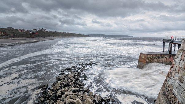 Whitby, Seascape, Stormy, Tide, Waves, Bleak, Sky