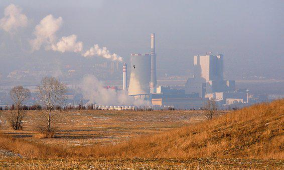 Power Station, Heat Production, Industry, Chimney