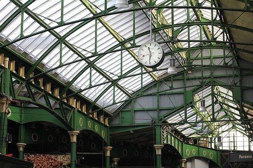 Station, London, Clock, City, Interior, Urban
