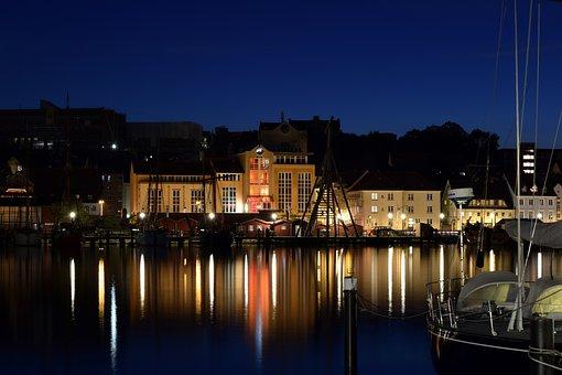 Flensburg, Night Photograph, Mirroring, Water