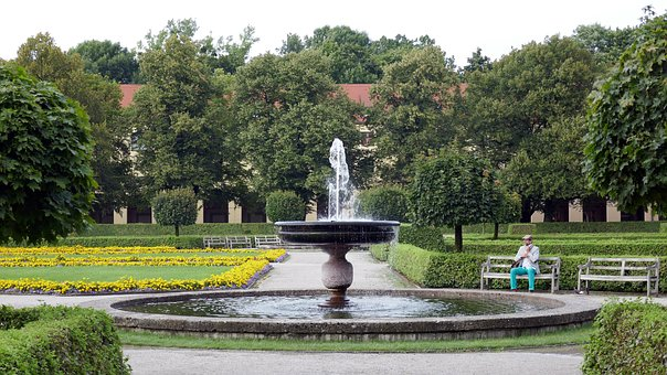 Courtyard Garden, Munich, Fountain, Rest, Park, Garden
