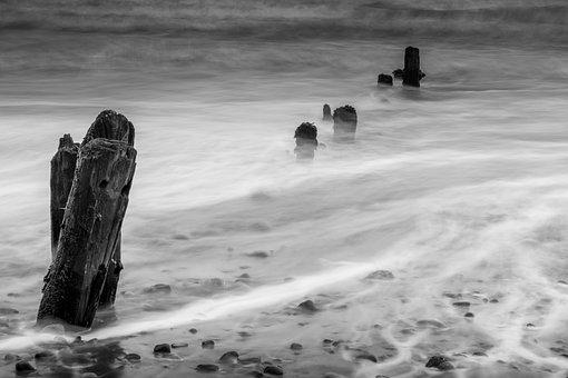 Groynes, Wave Breaks, Seascape, Sandsend, Lines