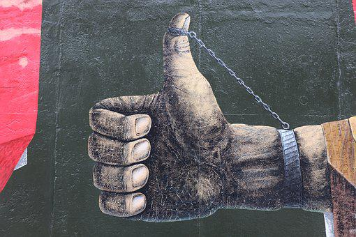 Hand, Thumb, East, Side, Gallery, Berlin, Berlin Wall