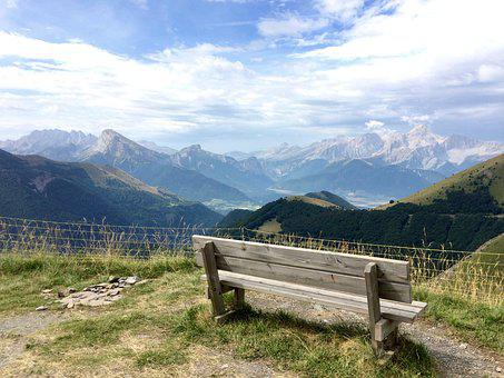 Sky, Bench, Mountains, Nature, Landscape, Holiday