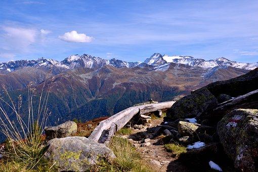 Mountains, Trail, Landscape, Wood Water Barrel, Nature