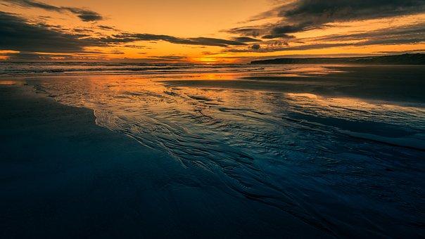 Filey Beach, Sunrise, Daybreak, Seascape, Low Tide