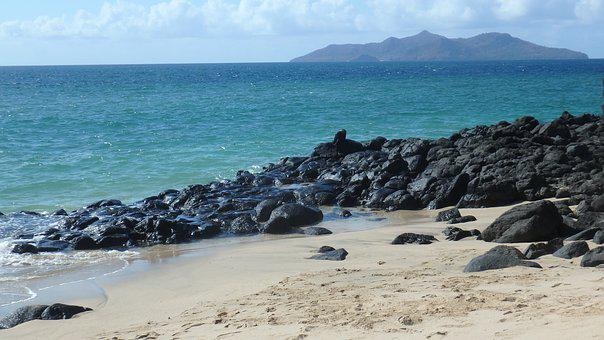 Ocean, Beach, Black Rock, Sand, Island, Mayotte