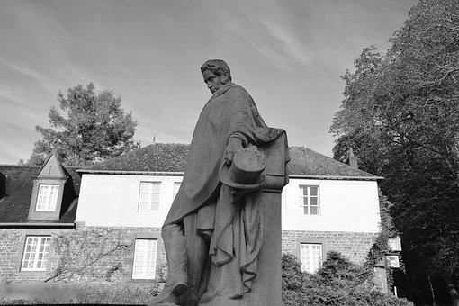 Statue Carved Stone, Châteaubriant Writer, Photo Black