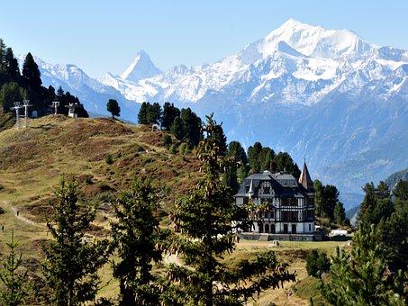 Rieder Furka, Villa Cassel, Matterhorn, Mountains