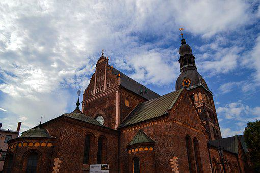 Riga, Old Town, Architecture, Sky, Spire, Roof