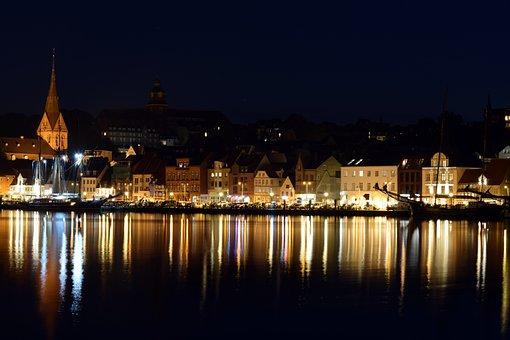 Flensburg, Night Photograph, Water, Sea, Reflection