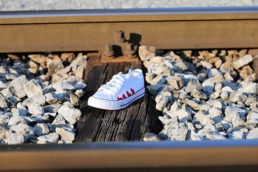 Stop Teenager Suicide, Bloody Sneaker On Railway