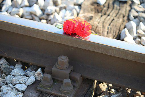 Red Roses On Railway, Train Accident, Drive Carefully