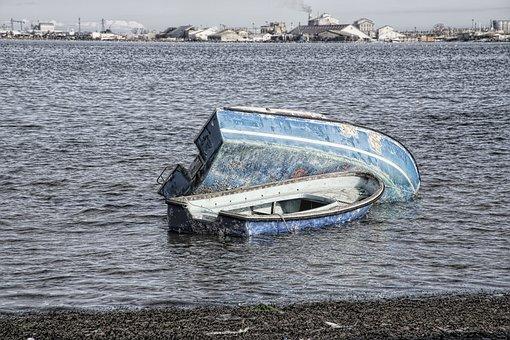 Wreck, Boat, Hull, Stranding, Sand, Side, Beach, Water