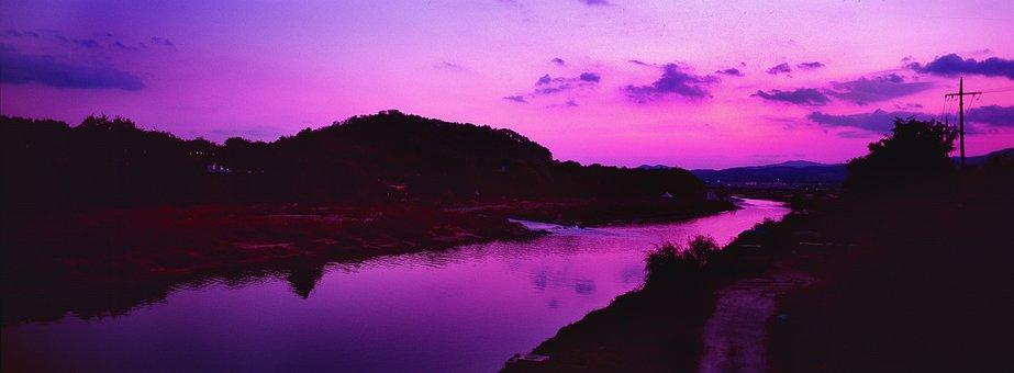 Glow, River, Sunset, Sky, Nature, Light, Scenery, Water